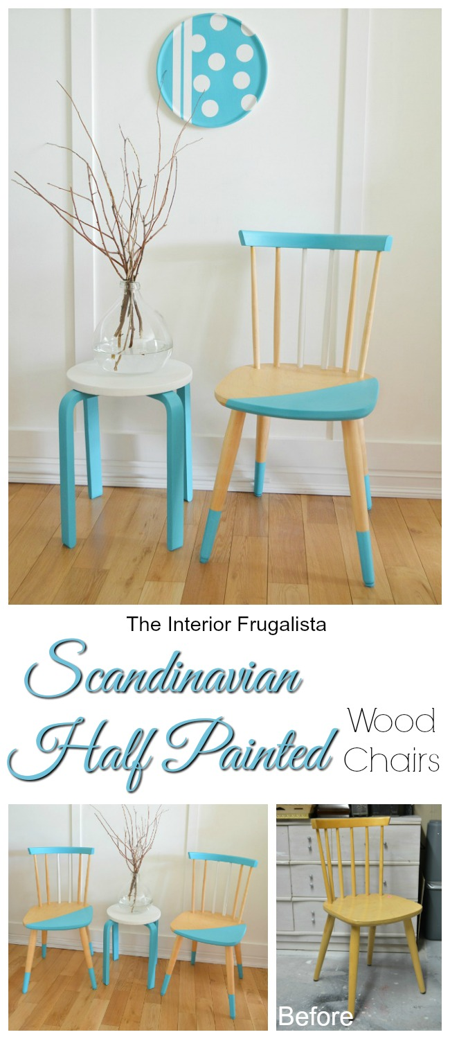Playful Scandinavian Half Painted Chairs Before and After