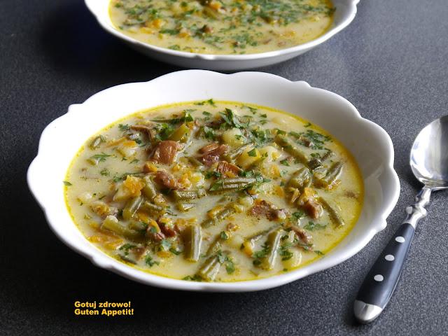 Zupa z kurkami i fasolką szparagową - wegeteriańska - Czytaj więcej »