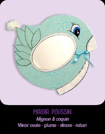 Cadre miroir Poussin en carton recyclé - modèle enfant _plume - strass - ruban - bleu ciel - par Cartons Dudulle