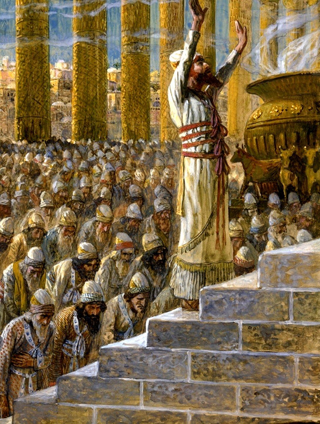 solomon dedicates the temple at jerusalem public domain