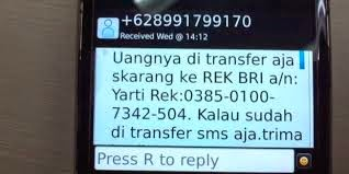 penipuan sms transfer bank