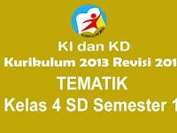 KI dan KD Tematik Kls 4 SD Semester 1 Kurikulum 2013 Revisi 2017