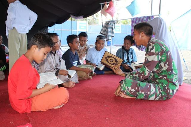 Yonarhanud 16 Kostrad Membuka TPA di Camp Pengungsian Kayumalue
