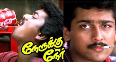 Vijay and Suriya intro | Nerruku Ner Movie Scenes | Raghuvaran | Deva