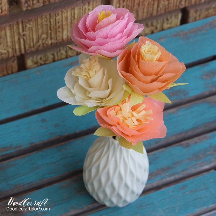 Doodlecraft diy crepe paper flowers bouquet i love the big peony like flowers mightylinksfo