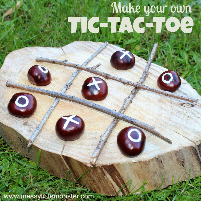 Making your own DIY Tic-Tac-Toe game is such a fun nature craft for kids! Follow our easy instructions to make your own naughts and crosses backyard games