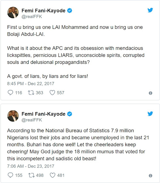 May God Judge Those That Voted for This Incompetent Old Beast - Fani Kayode Blast Buhari Over 7million Job Loss