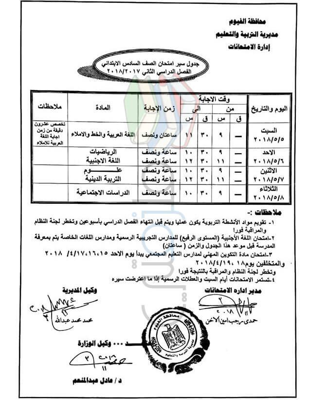 جدول امتحانات الصف السادس الابتدائي 2018 الترم الثاني محافظة الفيوم