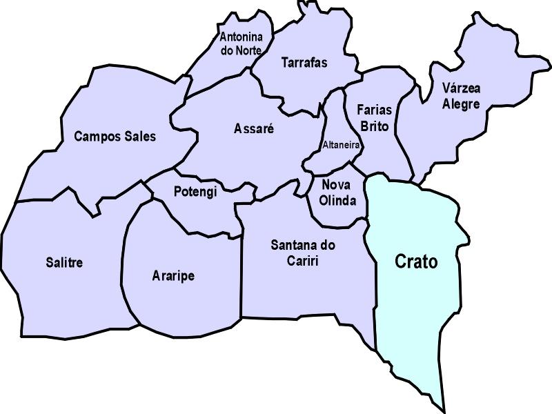 crato mapa 20ª CRES   Coordenadoria Regional de Saúde do Crato/CE: Aspectos  crato mapa