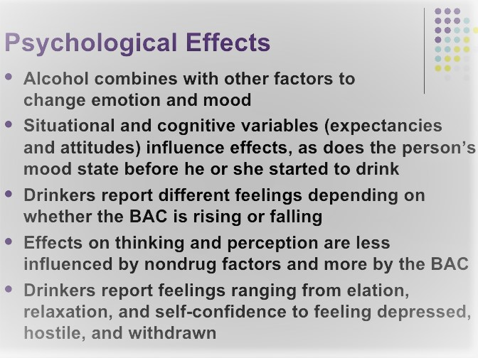 the effects of alcohol on a persons thinking process Alcohol – the body & health effects  for preparing the summaries of the health and body effects of alcohol in this  in motor coordination and thinking ability.