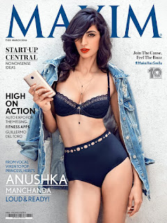 Anushka Manchanda in bikini on the Cover of Maxim India magazine March 2016
