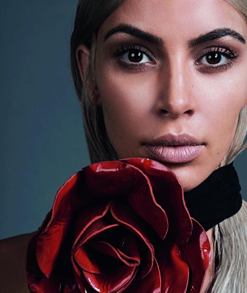 Kim Kardashian poses in Saint Laurent floral embellished necklace