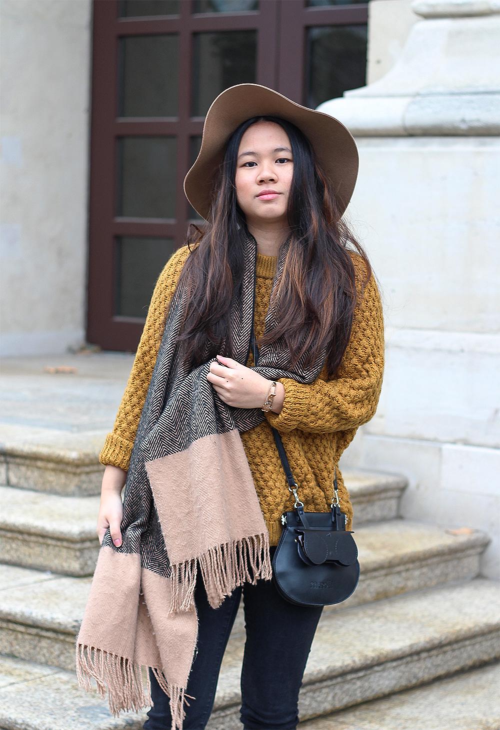 Outfit senfgelber Pulli mit Maedli-Tasche