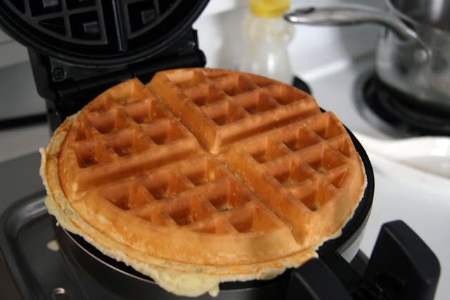 gluten free flour waffles on the waffle iron