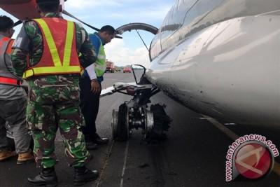 Pesawat Wings Air dari Bandung yang pecah ban saat mendarat di Bandara Radin Inten II Lampung