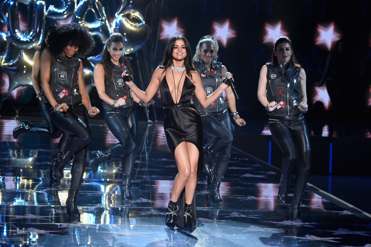 Selena Gomez dances during her VS Fashion Show performance