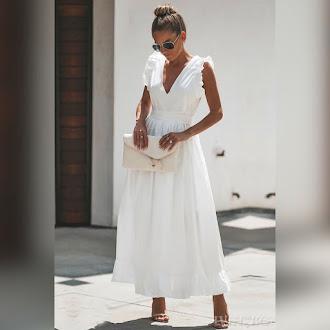 Αμάνικο μάξι άσπρο φόρεμα BELISIA WHITE