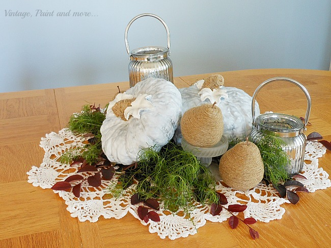 Vintage, Paint and more... blue painted pumpkins, twine wrapped pears and mercury glass candles make a fall centerpiece
