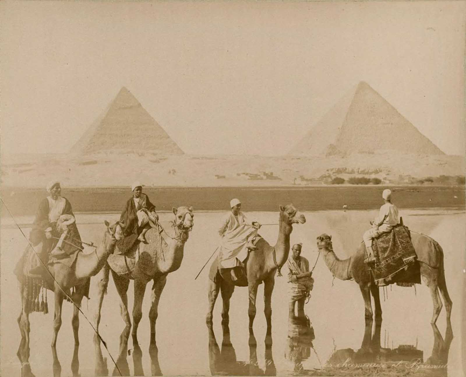 Camel riders near the pyramids.