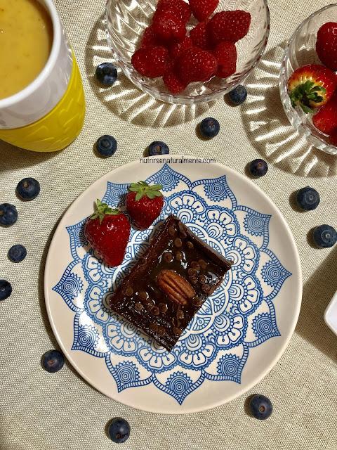 Brownie vegano sin azucar, sin harina, sin aceite