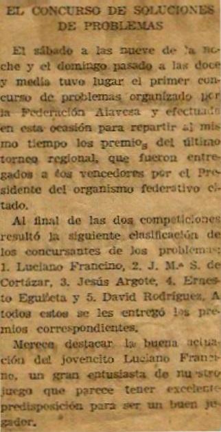 Recorte de Prensa de El Pensamiento Alavés, 1949