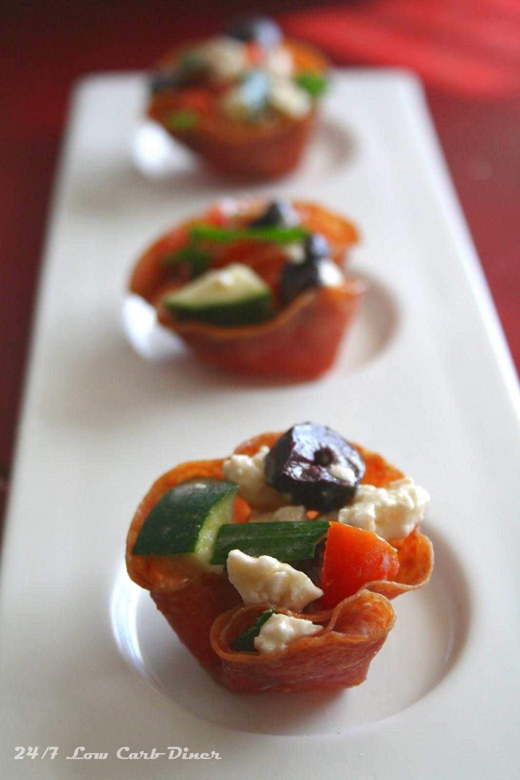 24/7 Low Carb Diner: Crisp Salami Cup Appetizers
