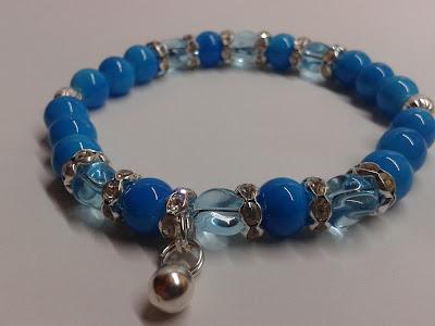 koraliki na gimce niebieska bransoletka ręcznierobiona