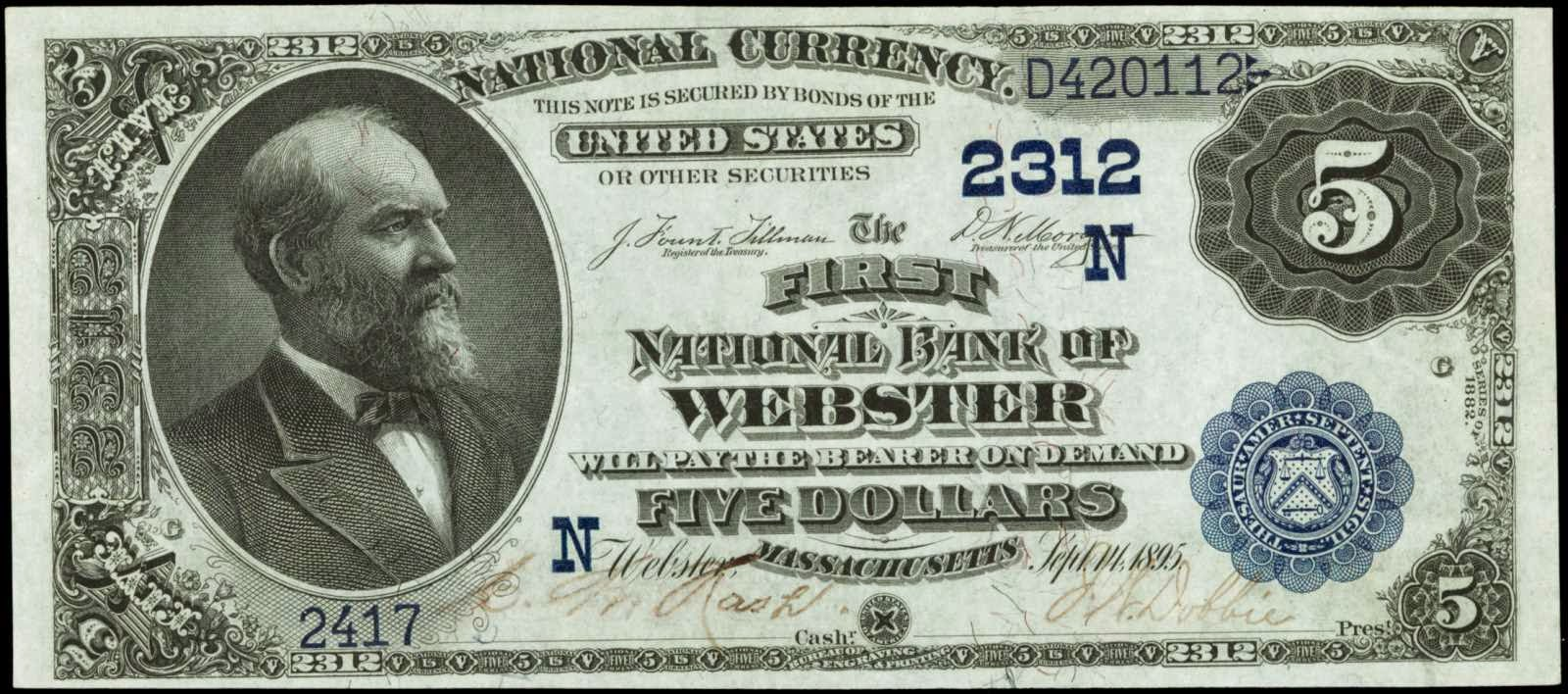 1882 Five Dollar US National Currency