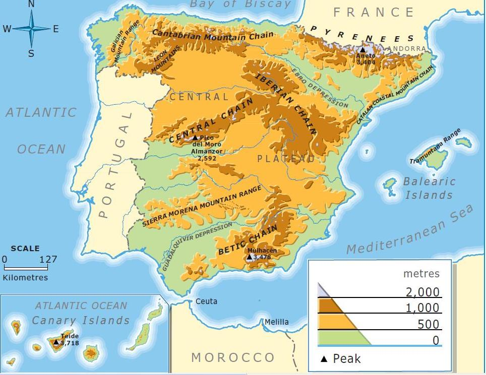 Map Of Spain Oceans.Relief Map Of Spain Ms Easy Peasy English Class