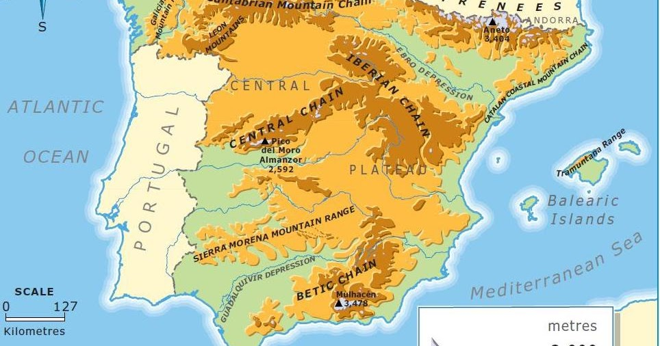 Map Of Spain With Mountains.Relief Map Of Spain Ms Easy Peasy English Class