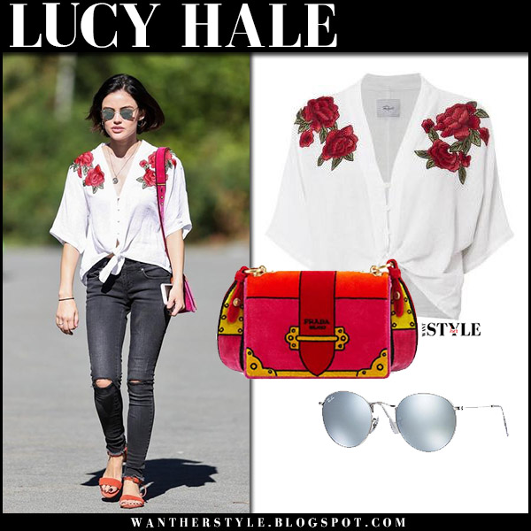 Lucy Hale in white floral embroidered blouse and grey jeans celebrities in rails august 26 2017