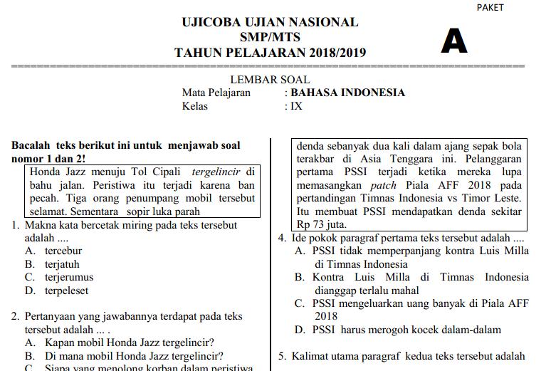 Soal Ucun Bahasa Indonesia Smp Tahun 2019 Paket 1 Pendidikan Kewarganegaraan Pendidikan Kewarganegaraan