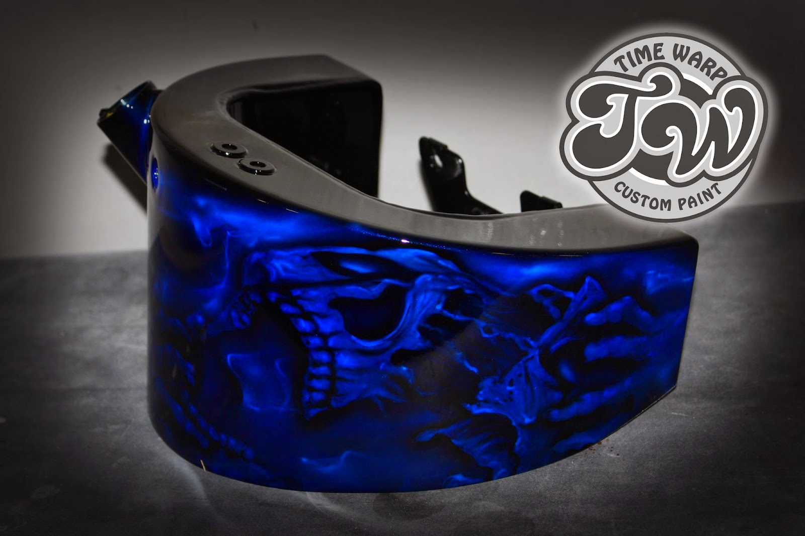Online Motorcycle Paint Shop Cobalt Blue Ripping Skull On