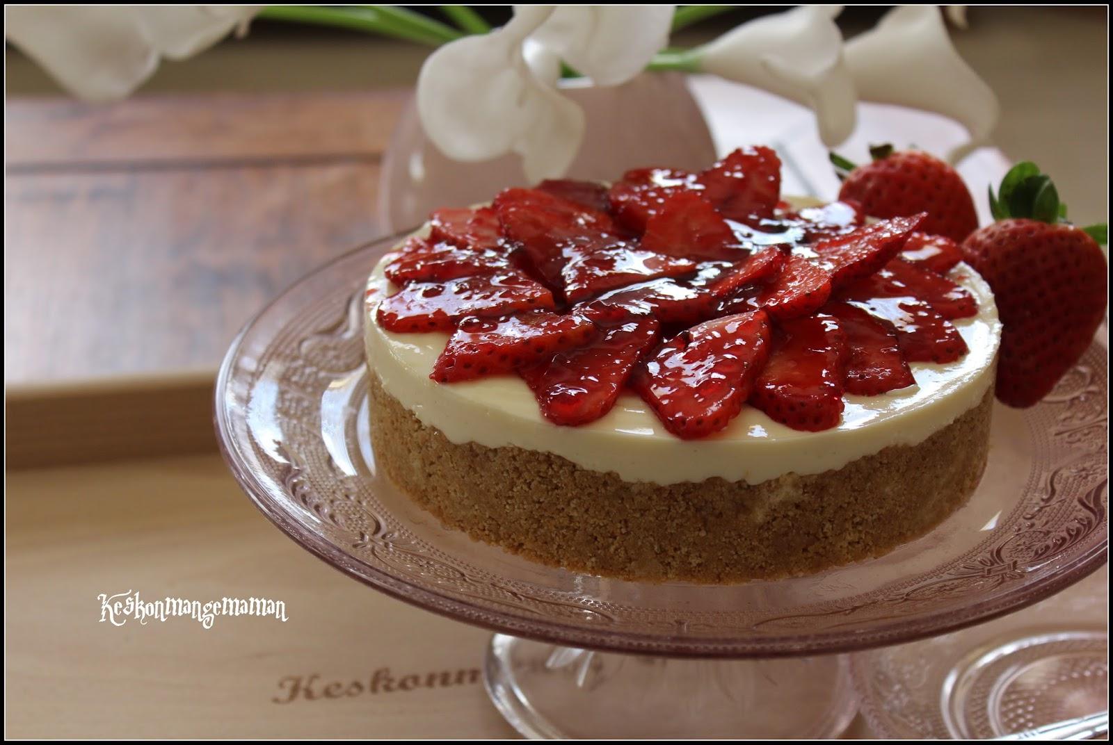 Keskonmangemaman cheesecake au lait concentr fraises la gel e de framboises sans cuisson - Cheesecake framboise sans cuisson ...