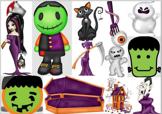 Clipart de Monstruos de Halloween.