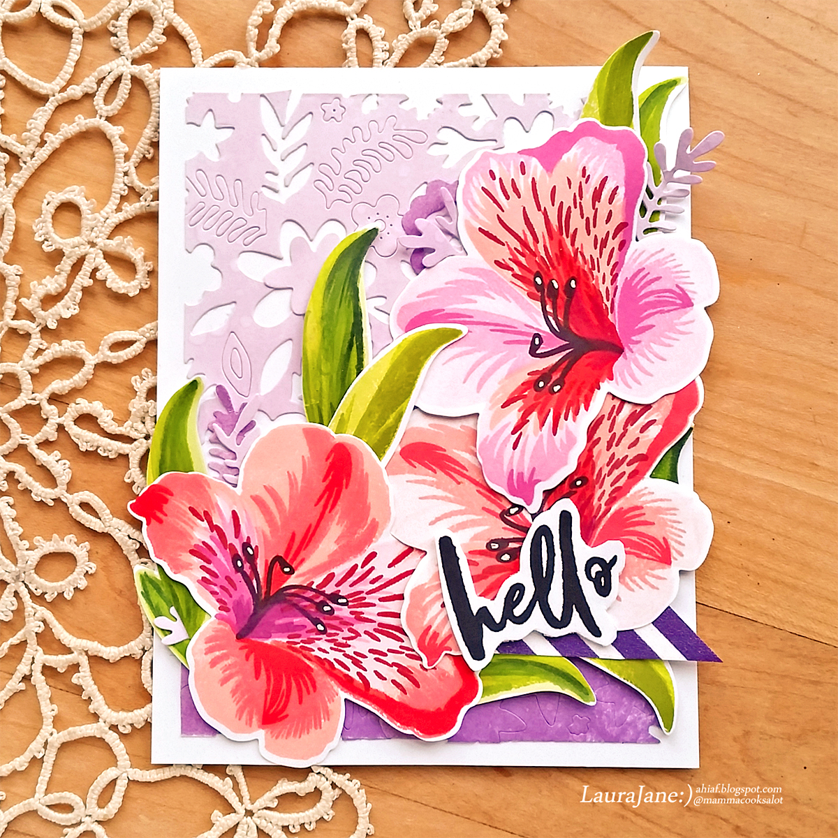 After hours ink flowers altenew build a flower peruvian lily the leaves are stamped with frayed leaf and colored with the artistic markers the coordinating dies made cutting the images out a snap and then i layered izmirmasajfo