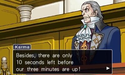 Manfred von Karma only 10 seconds left before three minutes are up Ace Attorney