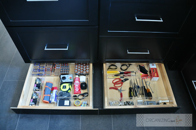 Toe kick junk drawers, organized with clear drawer organizers :: OrganizingMadeFun.com