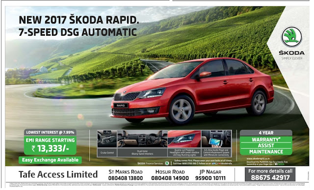 New 2017 Skoda Rapid 7-speed DSG automatic with lowest rate of interest and EMI | February 2017 festival offers