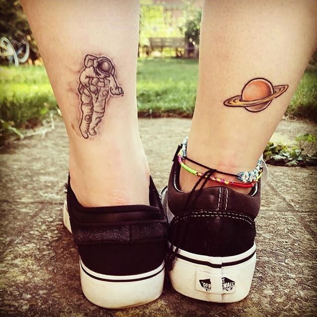 foot astronaut tattoo ideas