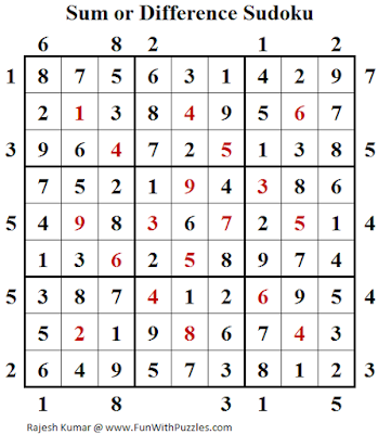 Sum or Difference Sudoku (Fun With Sudoku #136) Answer