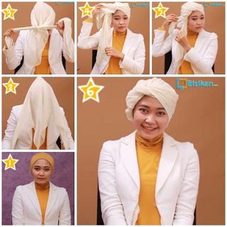 Tutorial Hijab Turban Segi Empat Modern Gaya #4 Drappery Simple