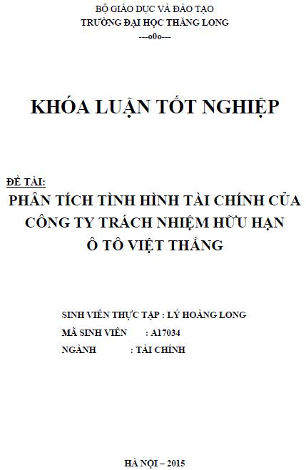 Phân tích tình hình tài chính của Công ty trách nhiệm hữu hạn ô tô Việt Thắng