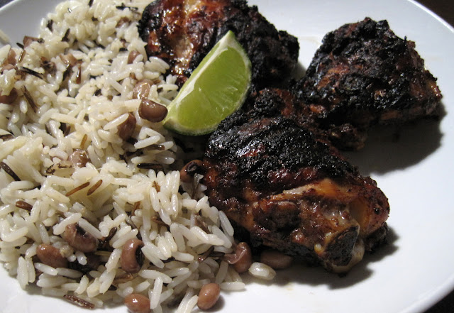 Jerk Chicken with Rice and Black Eyed Peas