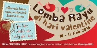 Tulis Rayuanmu di Hari Valentine dan Dapatkan Hadiah Voucher Makan