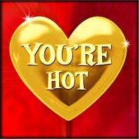 'You're hot' text on gold heart free image for texting