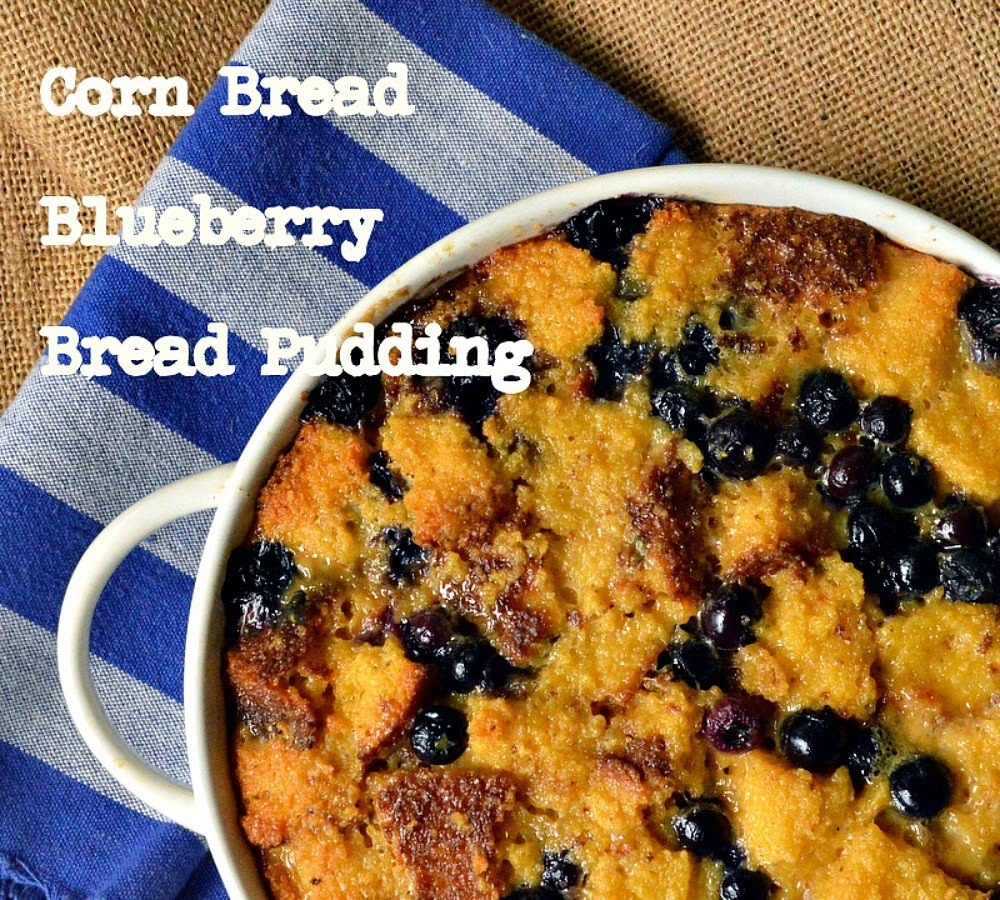 Corn Bread Blueberry Bread Pudding is the perfect use for leftover corn bread! Filled with blueberries and topped with a peach syrup this is one dessert that keeps them coming back! #cornbread #breadpudding #dessert #blueberries www.thisishowicook.com