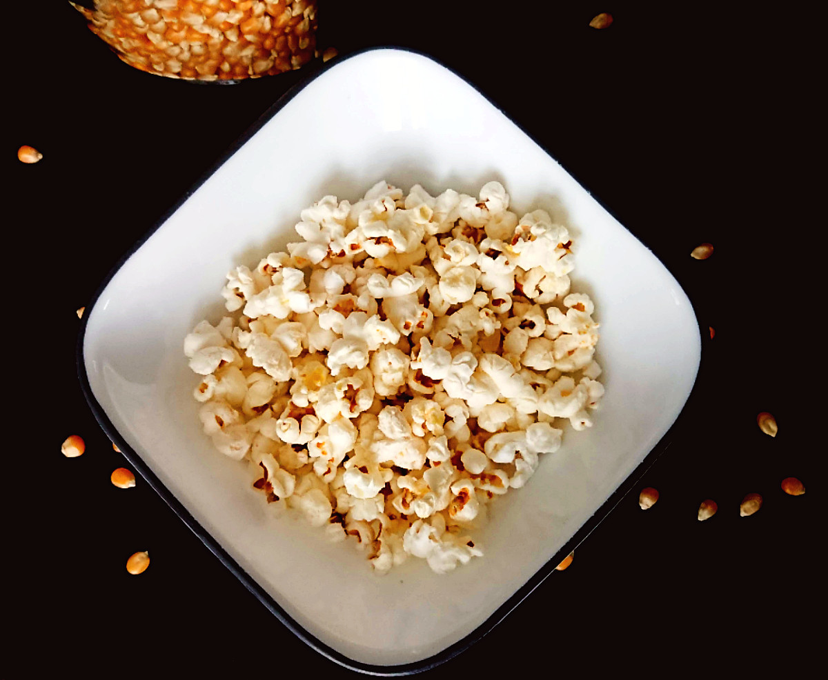 dairy free popped corn in a bowl