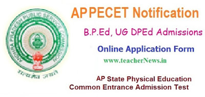 AP PECET 2017 Notification B.P.Ed UG DPEd Online Application form