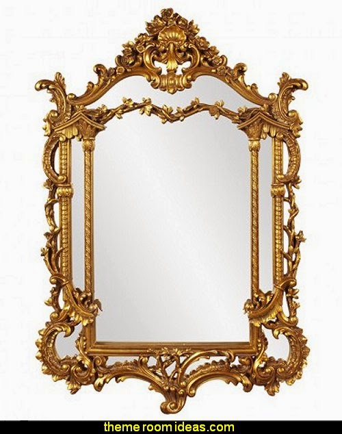 Howard Elliott Arlington Gold Baroque Mirror Luxury bedroom designs - Marie Antoinette Style theme decorating ideas - French provincial furniture baroque style - Louis XVI furniture - Rococo furniture - baroque furniture - marie antoinette bedroom ideas - marie antoinette bedroom furniture